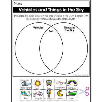 Vehicles and Things in the Sky Venn Diagram Worksheet