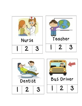 Vehicles and workers syllable counting cards