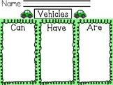 Vehicles can, have, are  writing activity