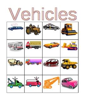 Vehicles in English Bingo and Flashcards