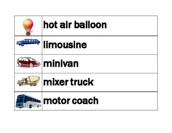 Vehicles in English word wall