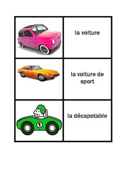 Véhicules (Vehicles in French) Concentration games