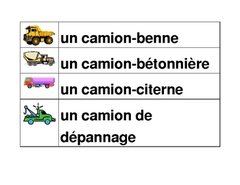 Véhicules (Vehicles in French) word wall