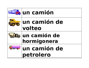 Vehículos (Vehicles in Spanish) word wall