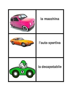 Veicoli (Vehicles in Italian) Concentration games