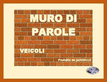 Veicoli (vehicles in Italian) word wall