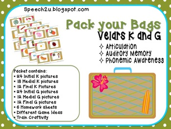 Velar Vacation: Articulation, Speech Therapy K and G
