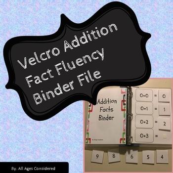 Velcro Addition Facts Fluency Binder Independent Work