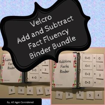 Velcro Addition/Subtraction Facts Fluency Binder Independent Work Bundle
