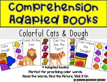 STICK IT! Colorful Cats and Playdough- Comprehension Books
