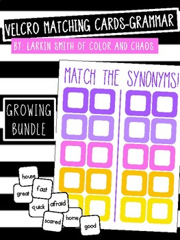 Velcro Matching Cards - Grammar GROWING BUNDLE!