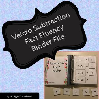 Velcro Subtractions Facts Fluency Binder Independent Work