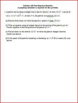 Velocity Acceleration AP Questions