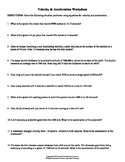 Velocity & Acceleration Worksheet