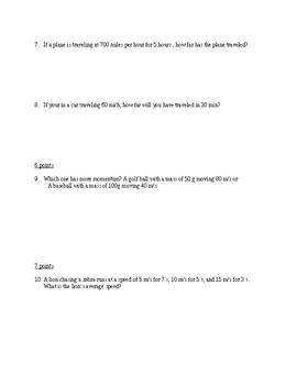 Velocity/Speed Exam/Quiz
