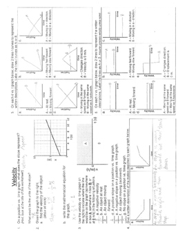 Velocity Worksheet Answer Key