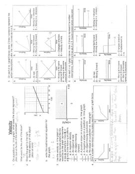 Velocity Worksheet Answer Key