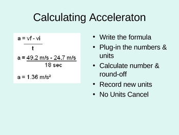 Velocity and Acceleration Presentation (PowerPoint) ppt