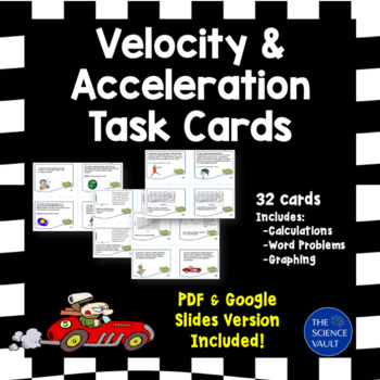Velocity and Acceleration Task Cards Word Problems & Graphing