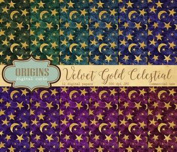 Velvet Gold Celestial Digital paper fantasy backgrounds moon and stars pattern