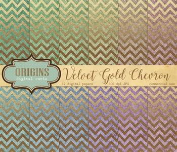 Velvet Gold Chevron Digital paper textures scrapbooking backgrounds