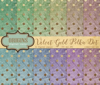 Velvet Gold Polka Dot Digital Paper textures backgrounds scrapbooking