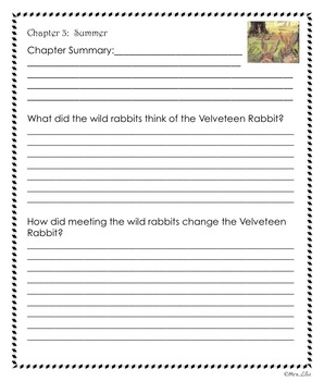 Velveteen Rabbit Reader Response Journal