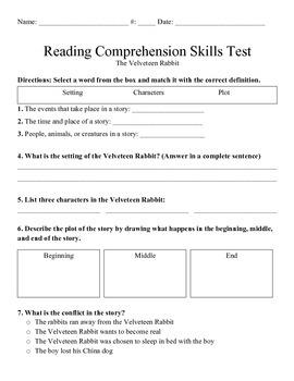 Velveteen Rabbit Reading Skills Test