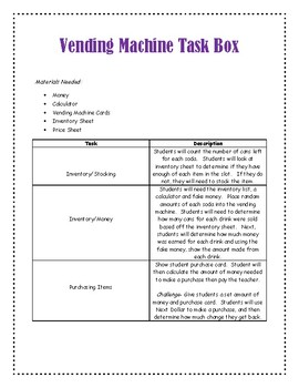 Vending Machine Task Boxes
