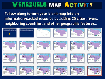 Venezuela Map Activity- fun, engaging, follow-along 24-slide PPT