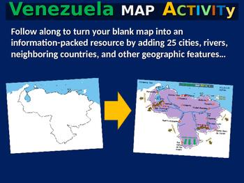 Venezuela Map Activity- fun, engaging, follow-along 24-slide PPT