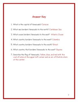 VENEZUELA - Printable handouts with map to color