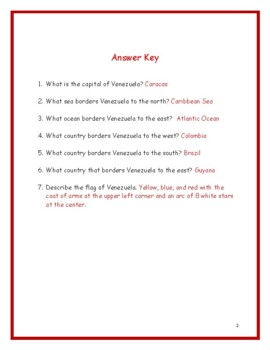 VENEZUELA - Printable handouts with map and flag