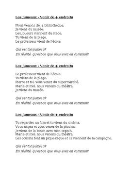 Endroits (Places in French) Venir de Jumeaux Speaking Activity