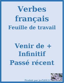Venir de + infinitif (Passé récent in French) worksheet 2