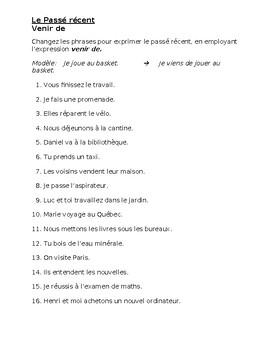 Venir de + Infinitive (Passé récent in French) Worksheet 3