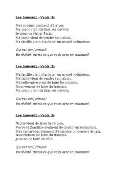 Venir de + infinitif (Passé récent in French) Jumeaux Speaking activity