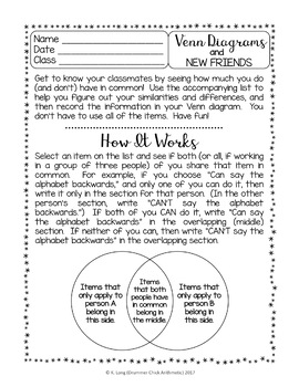 Venn Diagram Back to School Activity