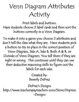 Venn Diagram Button Deductive Reasoning Activity