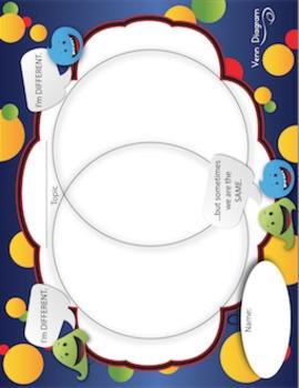 Venn Diagram - Cute Little Monsters Set - Vertical & Horizontal