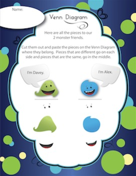 Venn Diagram - Cute Little Monsters Set - Vertical & Horizontal