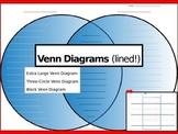 Venn Diagram Lined Graphic Organizer (Extra Lg, Triple and Block) Printable
