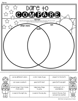 sun other stars venn diagram sort first grade science by class of kinders. Black Bedroom Furniture Sets. Home Design Ideas