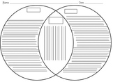 Venn Diagram Template with Writing Lines