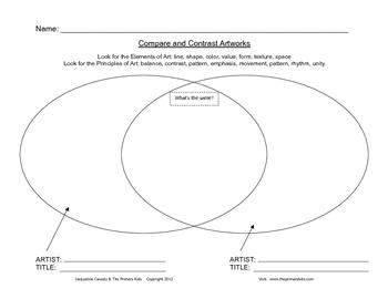 Venn Diagram Worksheet for Art Teachers