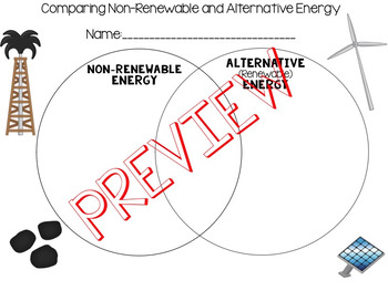 Venn Diagram to Compare Non-Renewable and Alternative Energy