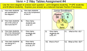Venn Diagrams & 2 Way Frequency Tables for SMART and Socrative 4 Assignments
