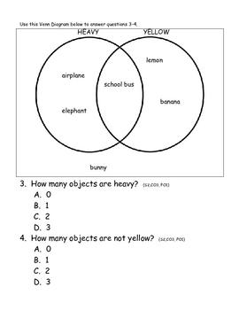 Venn Diagrams Math Assessment (Primary)