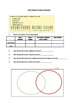 Venn Diagrams - Ratio worksheet - supports PowerPoint Part 2