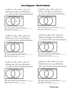 Venn Diagrams Word Problems By 5th Column Math Tpt